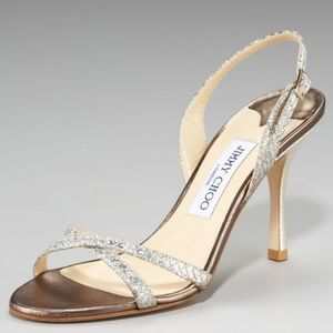 JIMMY CHOO INDIA SPARKLY CHAMPAGNE HEEL 38